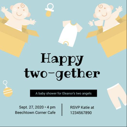 Two Gether Twins Baby Shower Invitation