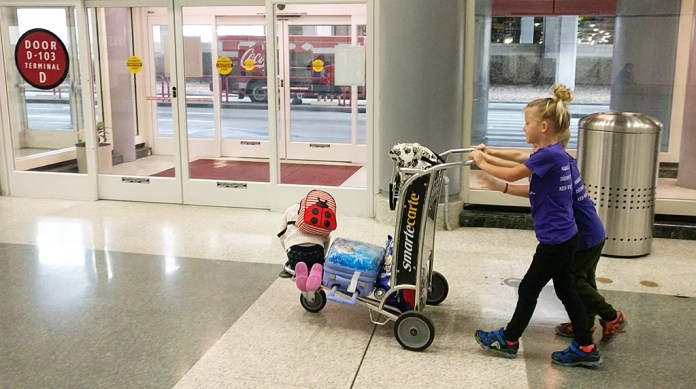 Airport, IAH, Baggage Cart, Traveling, Suitcase, Luggage, Airport Life, 2017 Year in Review, diapersonaplane, diapers on a plane, creating family memories, family travel, traveling with kids