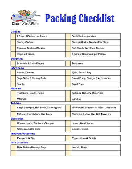 How to Pack, How to Pack for Any Trip in Under One Hour, Customizable Packing Checklist, Freebie, Pack, Suitcase, Luggage, Baggage, Diapersonaplane, Diapers on a plane, traveling with kids, family travel, creating family memories