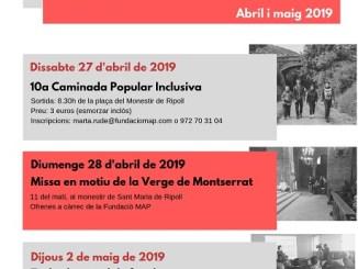 Cartell actes Verge Montserrat 2019 patrona fundacio map