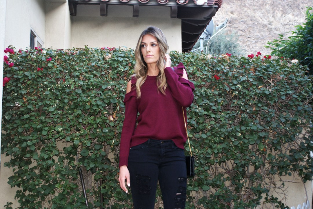 Sweater Edition: Cold Shoulder Ruffle Sweater