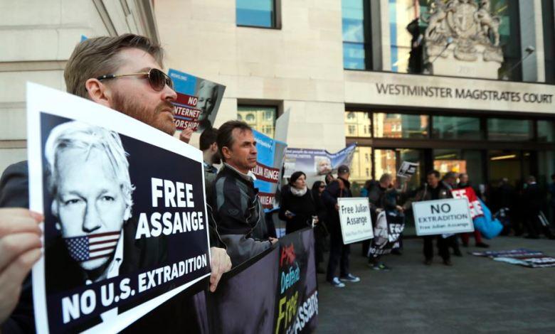 Protesta en Londres para liberar a Julian Assange
