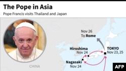 Este mapa de AFP muestra la ruta y las fechas de la visita del papa Francisco a Asia del 19 al 26 de noviembre de 2019.