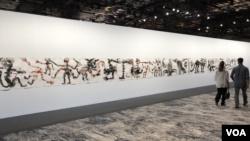 """La pintura """"Dynastie"""" de Barthélémy Toguo expuesta en espacio """"Meridians"""" en Art Basel 2019."""