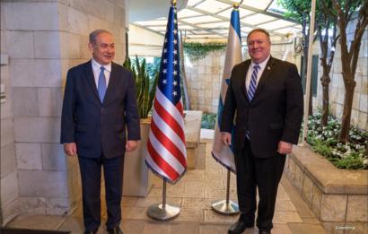 El Secretario de Estado de los Estados Unidos, Michael Pompeo y el Primer Ministro israelí Benjamin Netanyahu en la residencia del Primer Ministro en Jerusalén.