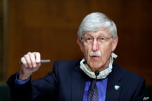 FILE - In this May 7, 2020 file photo, National Institutes of Health Director Dr. Francis Collins speaks during a Senate Health…