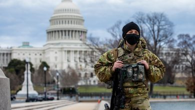 Soldado frente al Capitolio en Washington D.C.