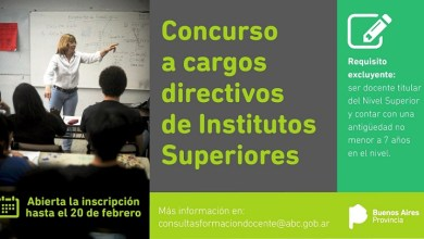 Photo of Concurso para la cobertura de cargos directivos de Institutos Superiores