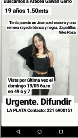 Desapareció una joven de 19 años de Rawson que estudia en La Plata