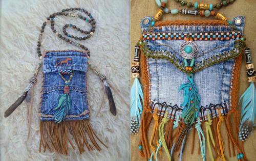 Ideas para reciclar vaqueros bolsos pequeños de jean con abalorios y plumas