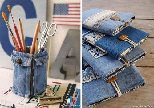 Ideas para reciclar vaqueros portalápices de tela de jean y billeteras