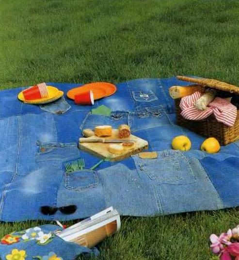 Ideas para reciclar vaqueros mantel para ir de picnic