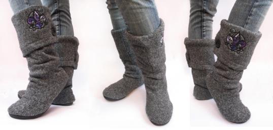 Botas con un suéter reciclado