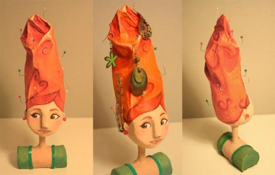 Porta bijou cabeza de mujer en papel mache