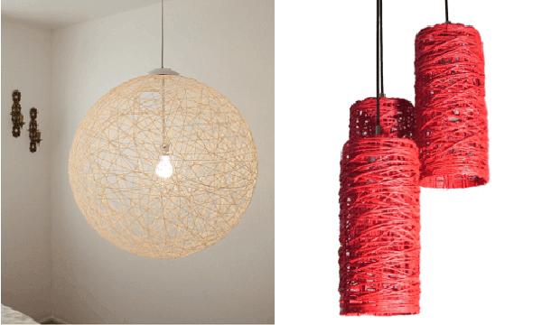 Lámparas artesanales de hilo: diseños y técnicas