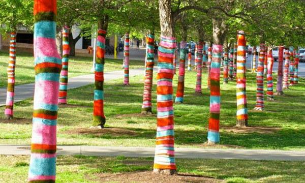 Yarn bombing arte en tejido callejero
