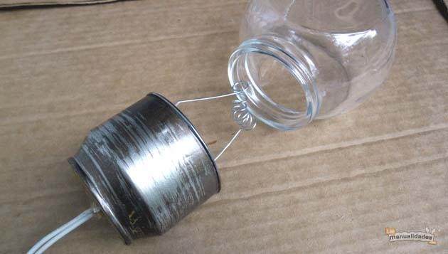 Lamparillas con frascos reciclados finalizada