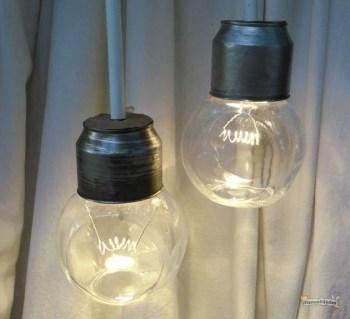 Lamparas hechas con frascos reciclados