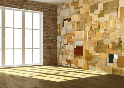 Revestimiento de pared con maderas recicladas