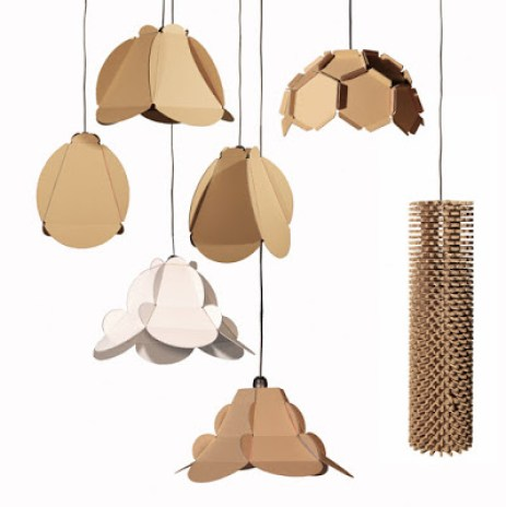 Ideas para reciclar cartón, modelos de lámparas hechas de cartón