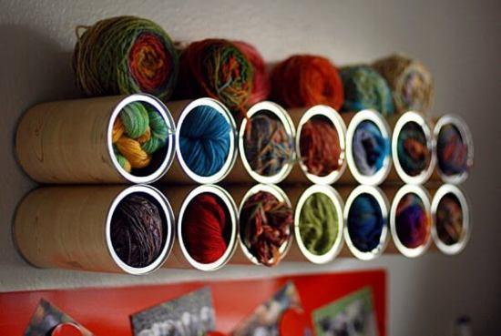 Ideas para reciclar latas, organizador para lanas