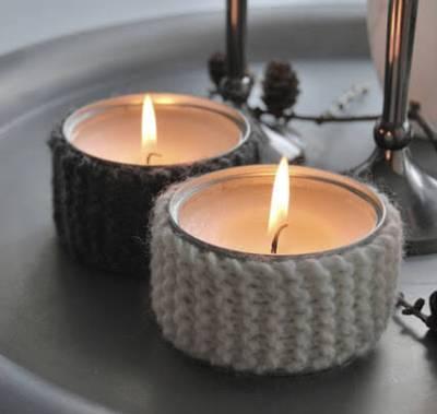 Ideas para reciclar latas, velas en latas decoradas con tejido