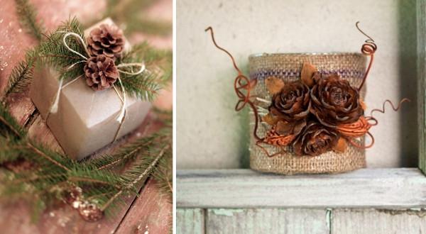 Detalles para decorar en navidad con piñas