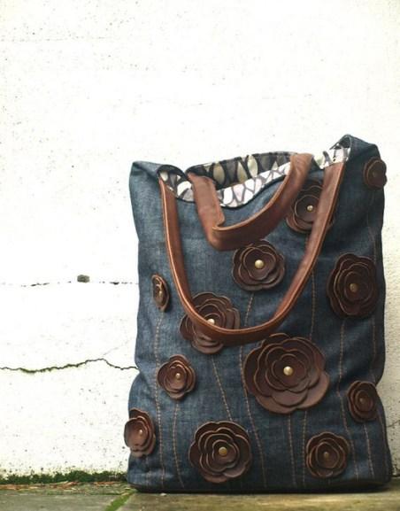 Jean reciclado bolsos cuero