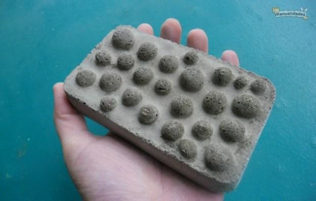 Jaboneras caseras de cemento terminada
