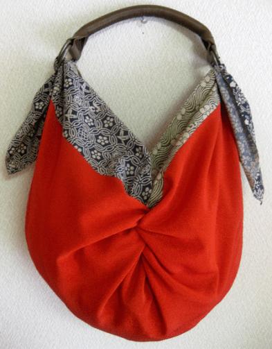 Bolsos furoshiki modelo con nudos y asa de cuero