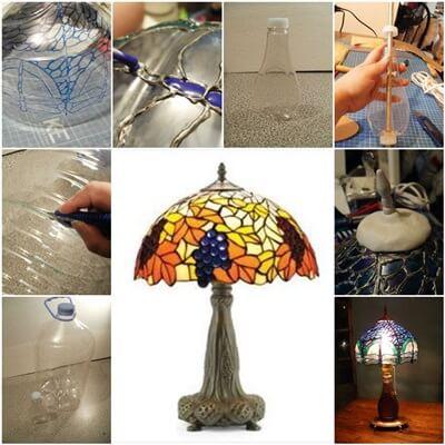 Botellas de plástico recicladas cómo hacer las lámparas falso vitreaux con reciclaje