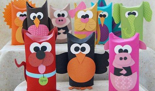 juguetes con materiales reciclados animales de tubos de papel
