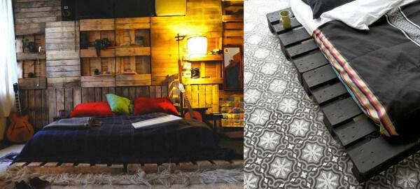 Revestimiento de pared y una cama hecha con palets pintados
