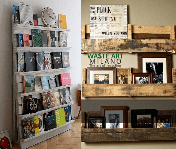 Bibliotecas hechas con reciclaje de palet