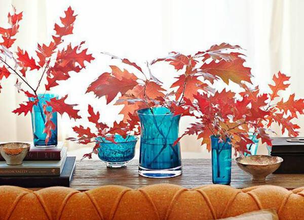 Decorar en otoño con hojas secas