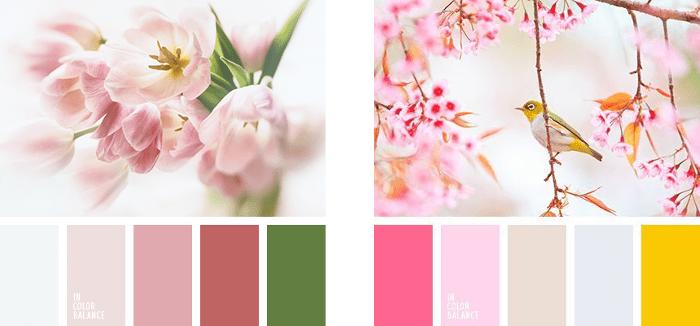 Paleta colores vintage tonalidades rosa