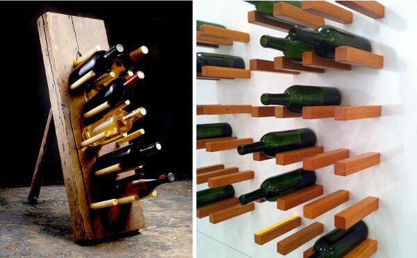Idea para hacer portavinos con varillas de madera