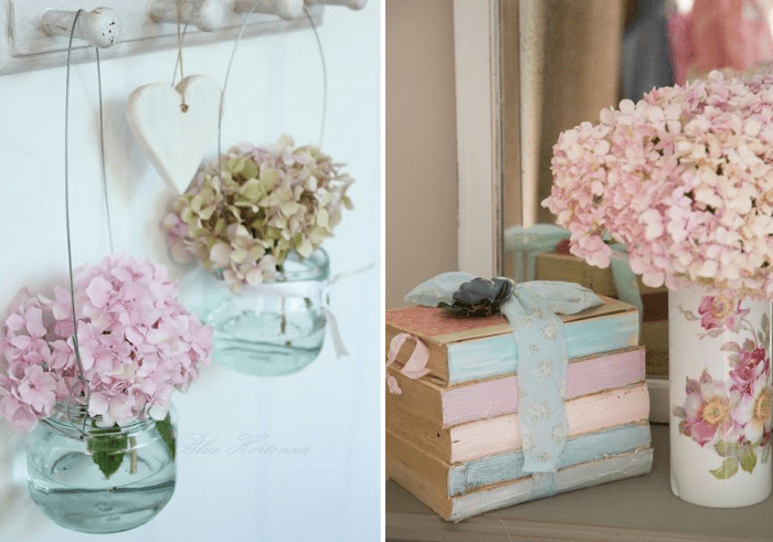 Decorar con adornos de hortensias