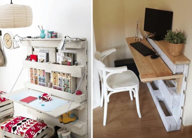 Escritorios con palets para espacios pequeños