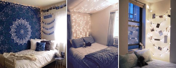Decora tu dormitorio con luces de navidad
