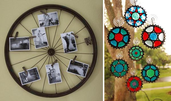 Llantas de bicicletas recicladas y decoración con bicicletas