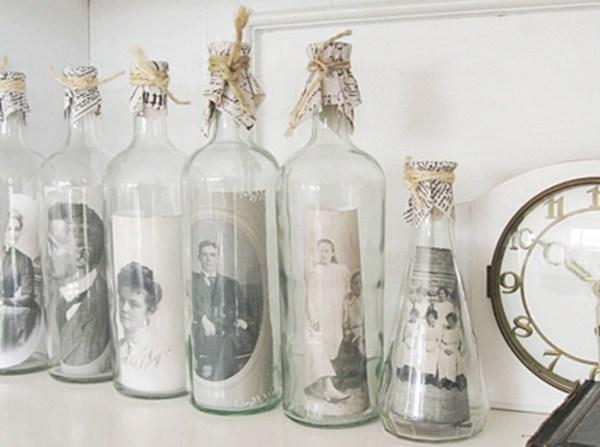 Manualidades faciles botellas con fotos para decorar