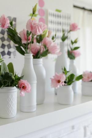 Floreros shabby con envases pintados
