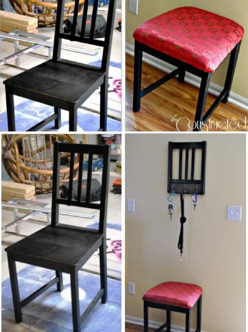 Reciclar una silla y hacer una banqueta y un portallaves