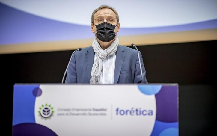 Guillaume Duverdier, Presidente de HEINEKEN España durante su discurso en el Consejo Empresarial Español para el Desarrollo Sostenible