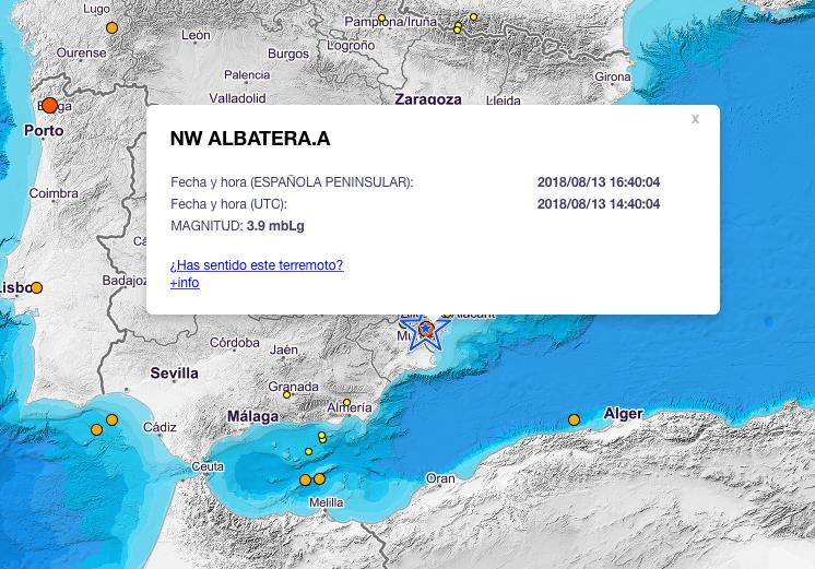 Un terremoto registrado en Albatera con magnitud 4,2 se nota casi toda la provincia