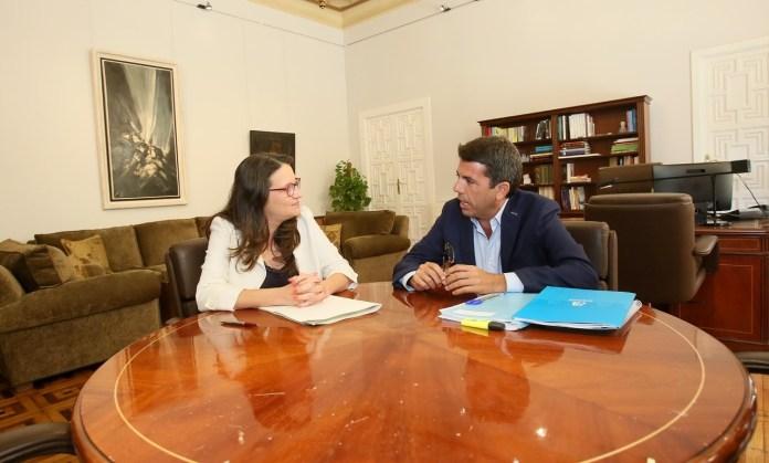 Carlos Mazón y Mónica Oltra durante la reunión en la Diputación de Alicante / Diputación de Alicante