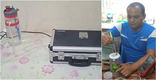 El concentrador de oxígeno portátil y su inventor, Maykel Suárez Machado.