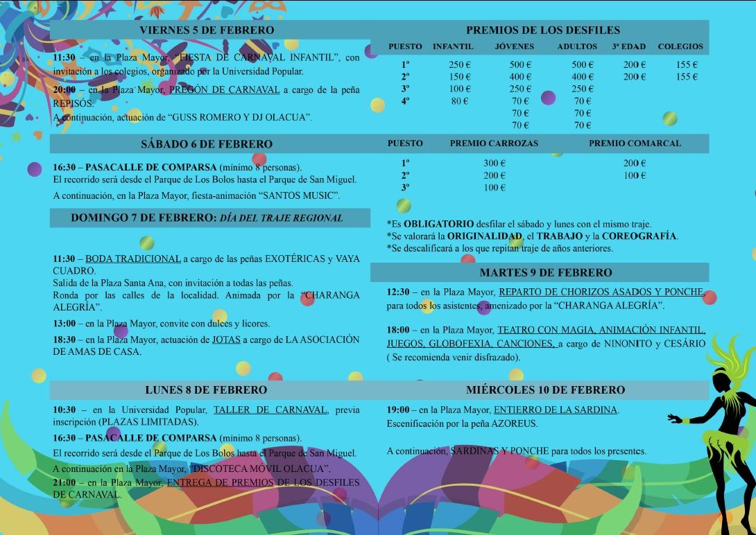 Programación Oficial del Carnaval Jaraiceño