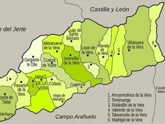 Mapa de la Comarca de la Vera | Casas más grandes